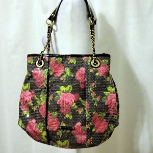 Betsey Johnson Floral Sequined Bag Chain Strap